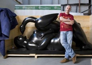 """David Walsh in front of Fernando Botero's """"Leda and the Swan"""""""