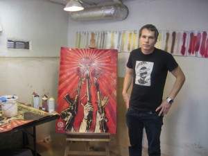 Shepard Fairey in his studio